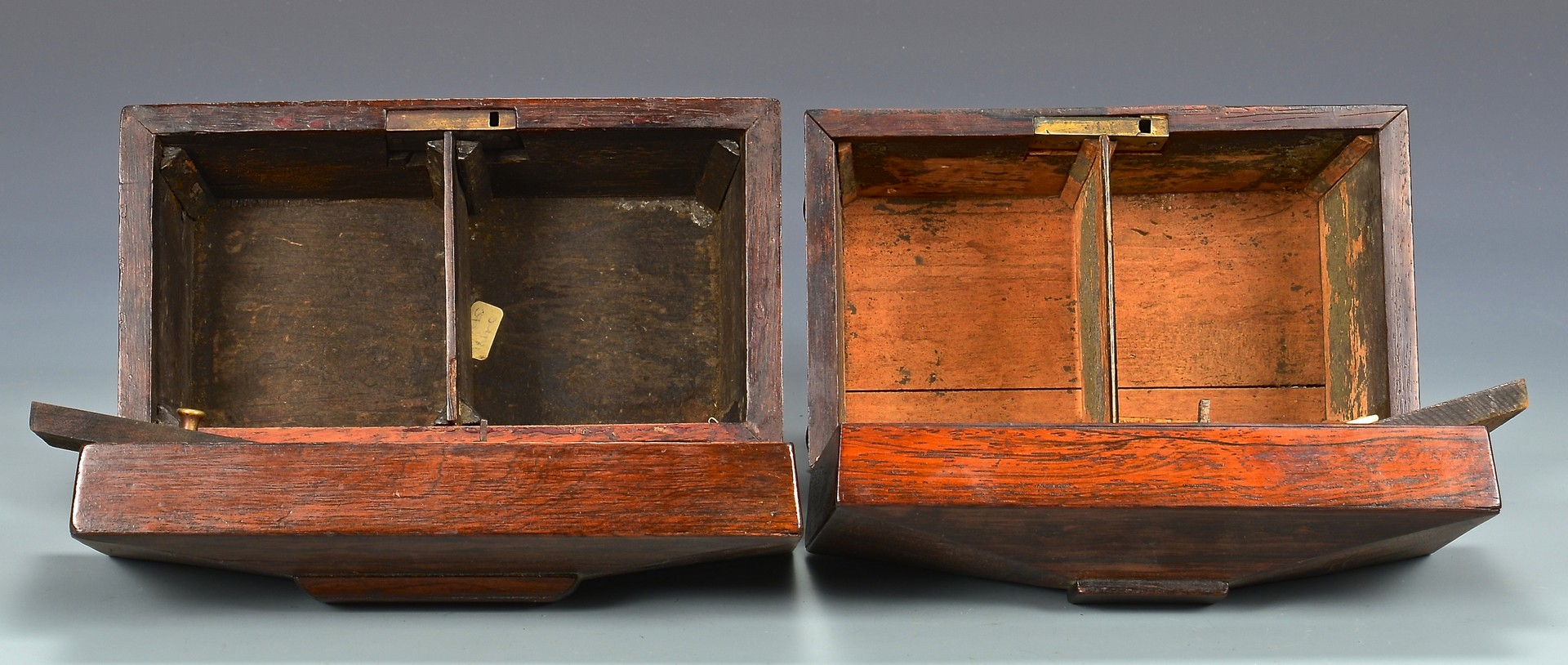 Lot 687: 5 wooden Boxes, incl. 3 Tea Caddies