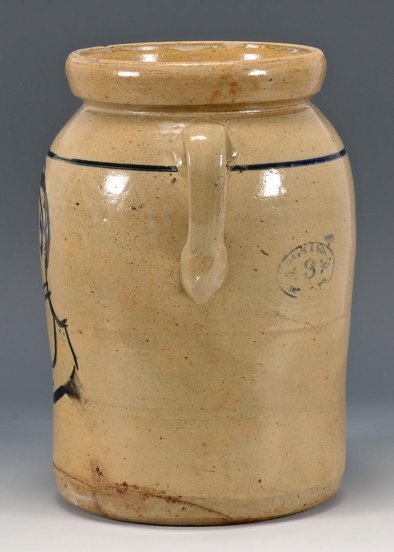 Lot 691: MS Davis & Son Stoneware Churn, Male Profile Decor
