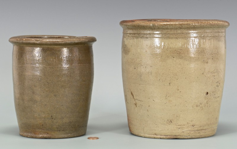 Lot 693: 2 East TN M.P. Harmon Stoneware Jars, 1 upside dow