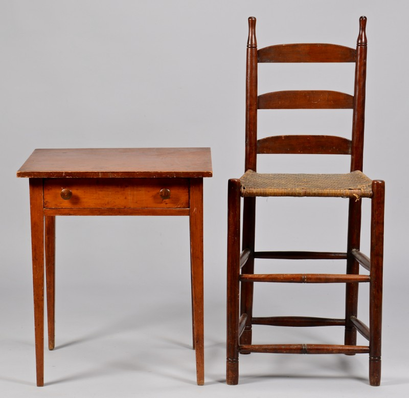 Lot 699: East TN Weaver Chair & Hepplewhite Table