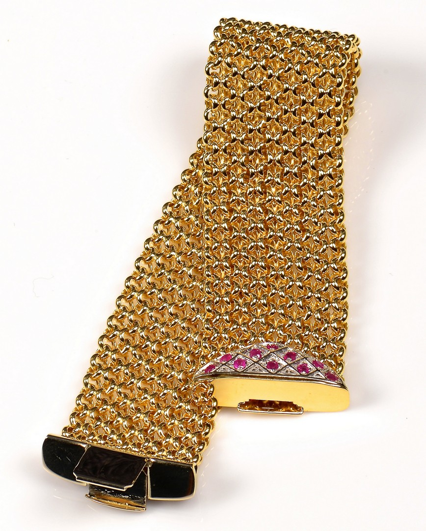 Lot 69: 18K Italian Wide Bracelet w/ Rubies