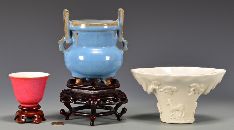 Lot 6: 3 Chinese Porcelain Items, Cups & Vase