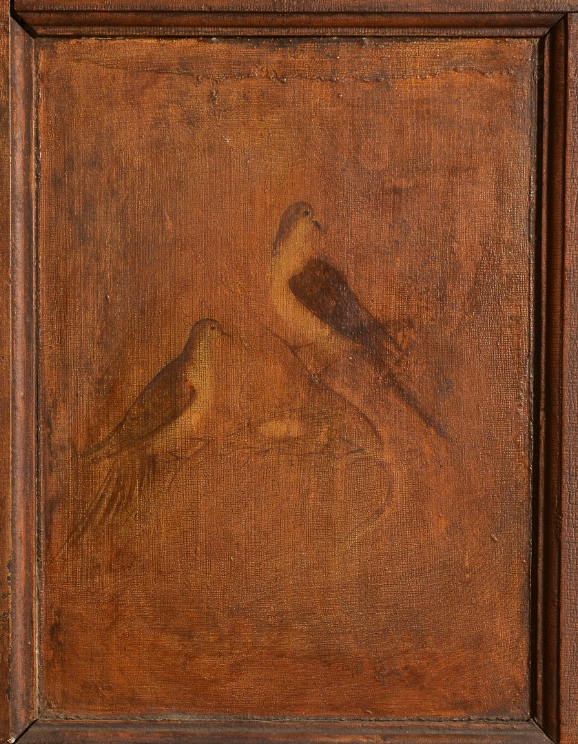 Lot 702: Virginia painted mantel, bird scenes