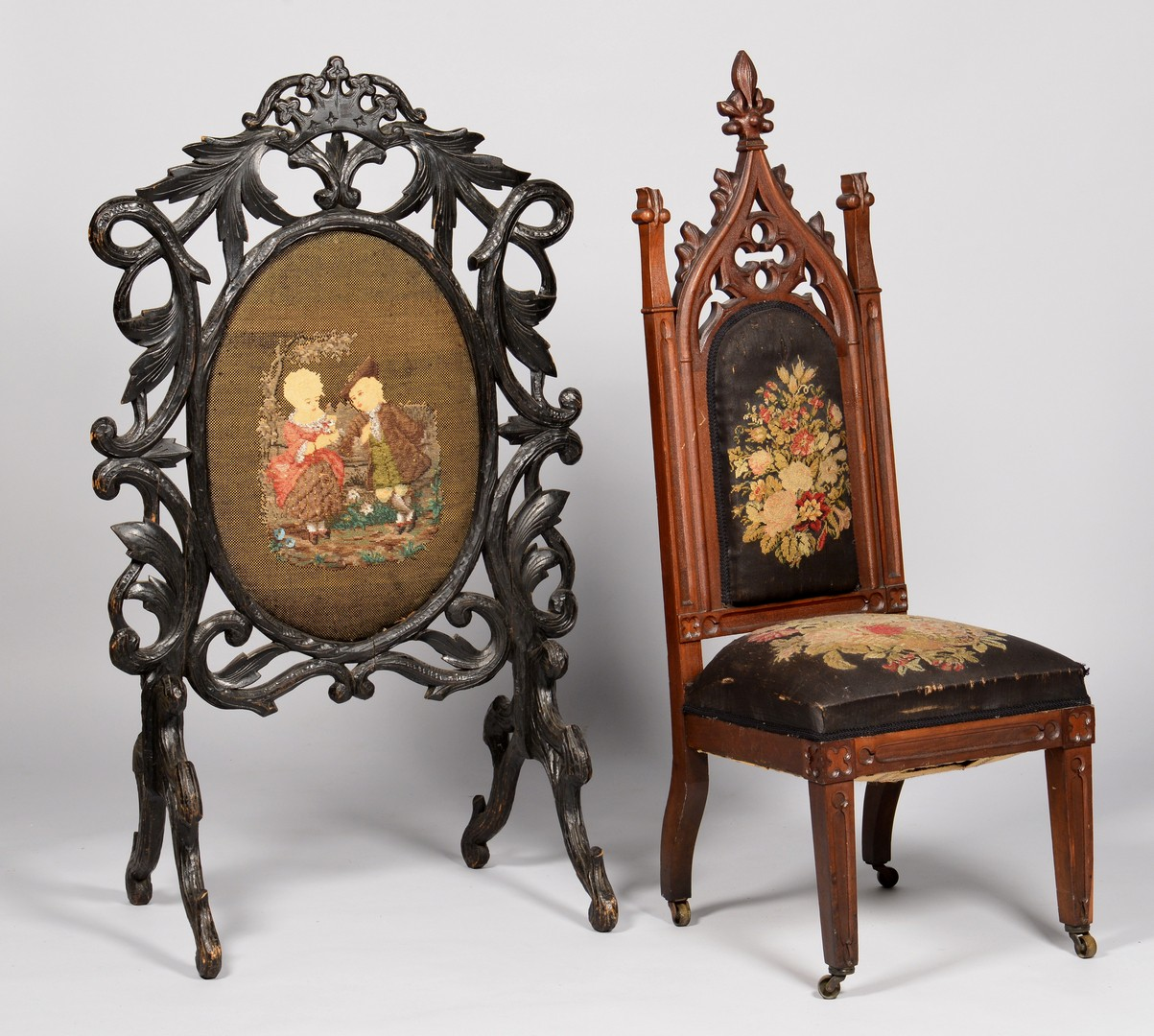 Ancient gothic furniture - Lot 709 2 American Gothic Furniture Items Chair Screen