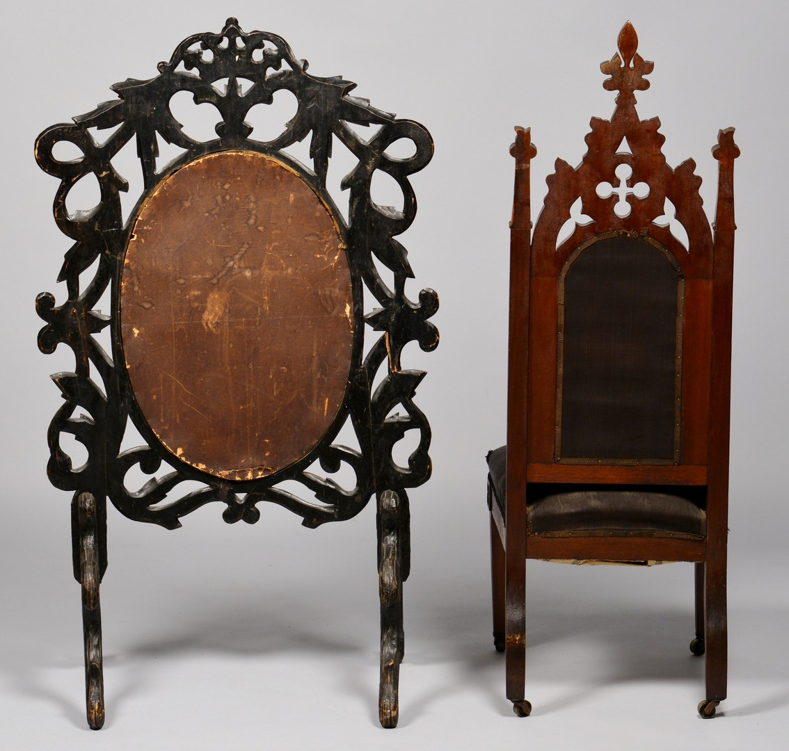 Lot 709: 2 American Gothic Furniture Items, Chair & Screen