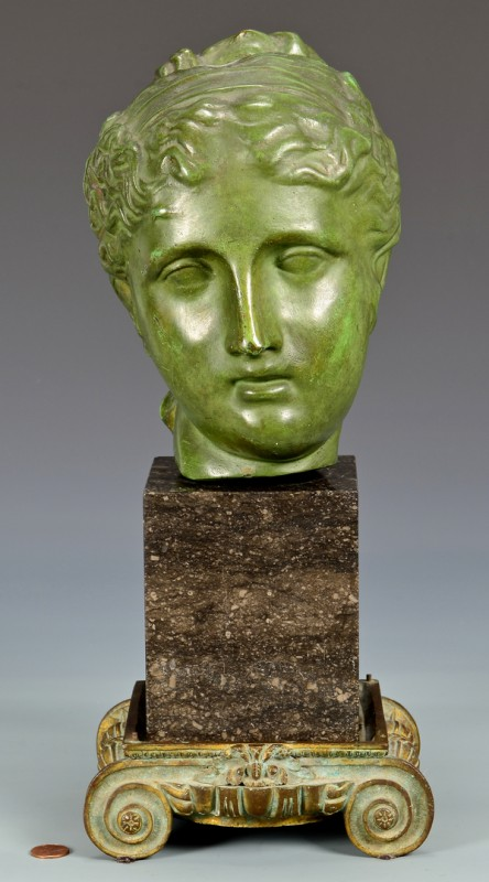 Lot 714: Classical Bronze Female Head Sculpture