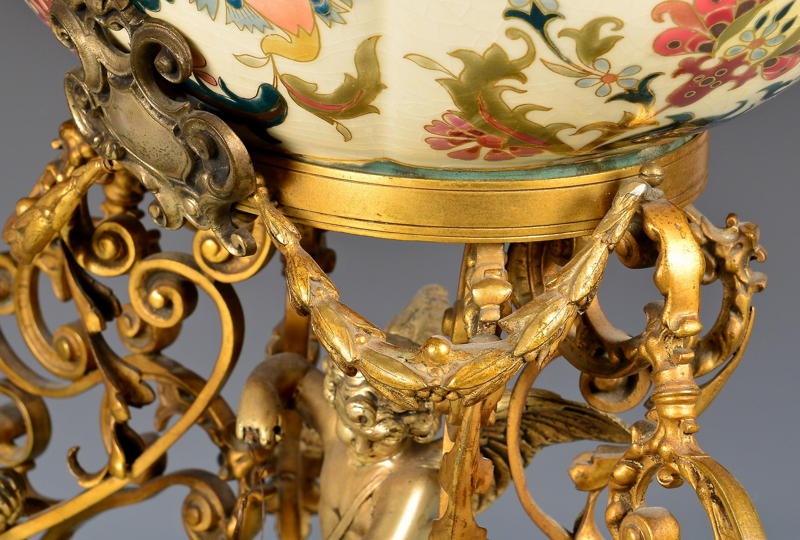 Lot 715: Zsolnay Ceramic & Gilt Centerpiece