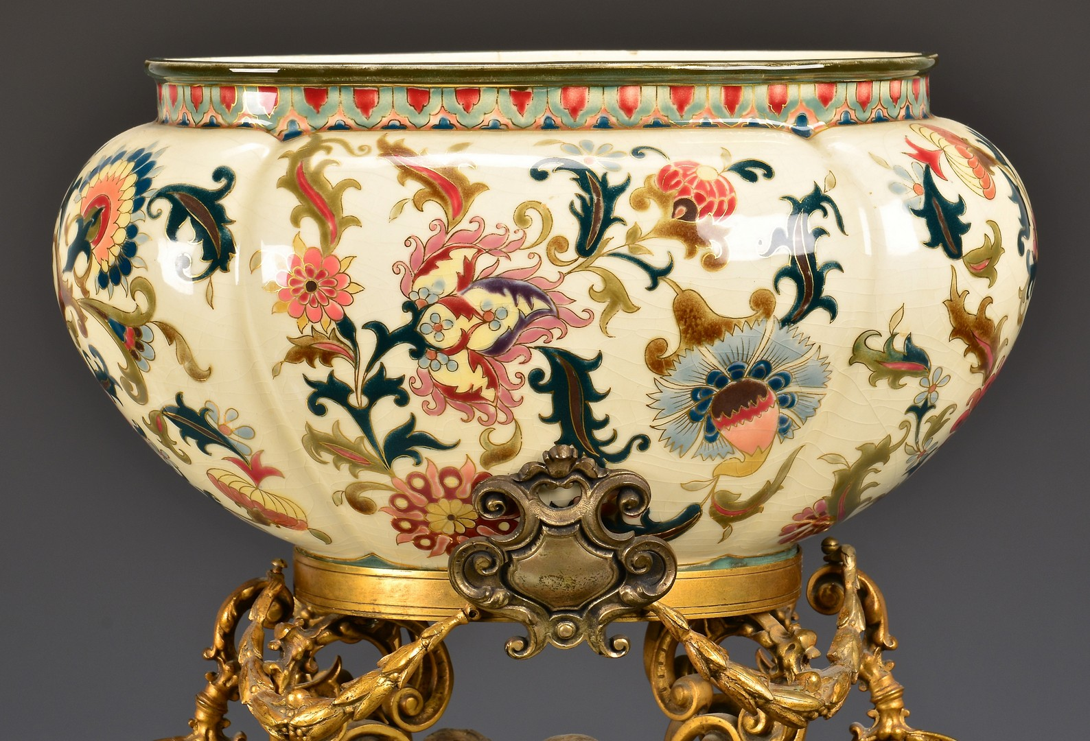 Lot 715: Zsolnay Ceramic & Gilt Centerpiece