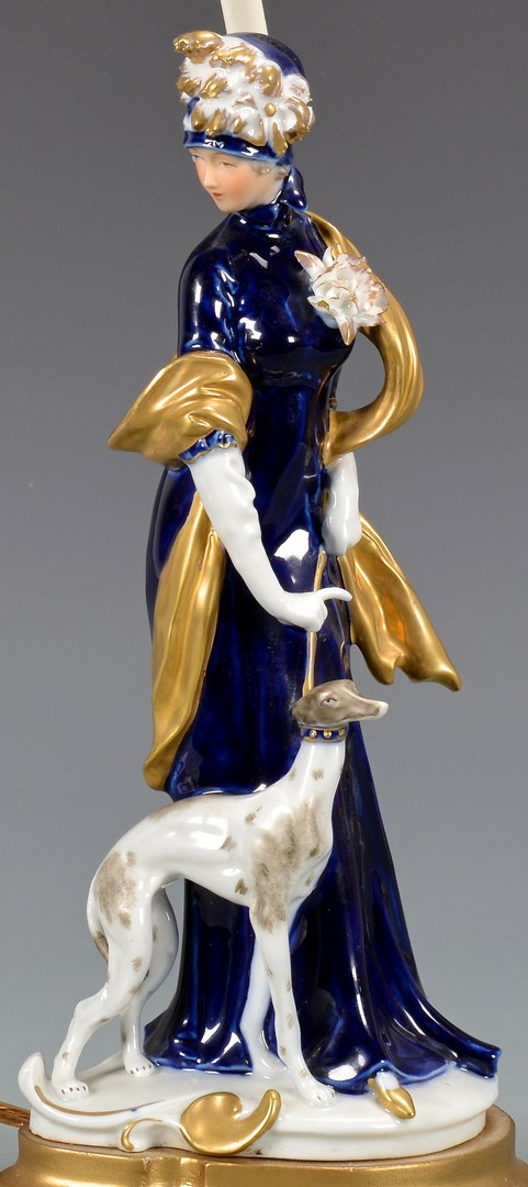 Lot 718: Continental Porcelain Lamp & German Allegorical Fi