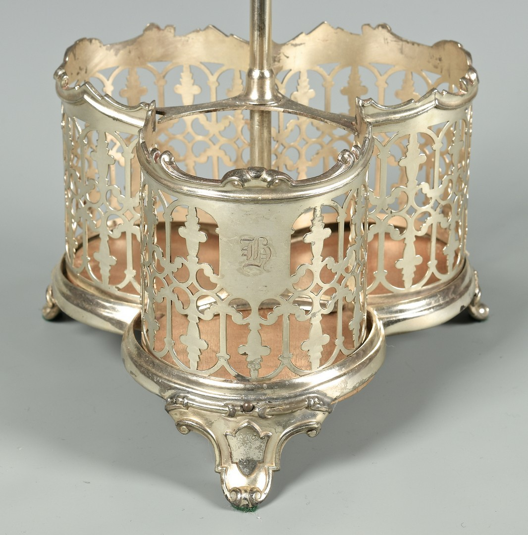 Lot 720: Group of 4 Glass & Silver Items