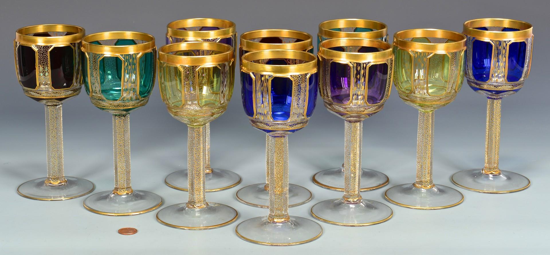 Lot 721: 10 Czech Handblown Colored Goblets