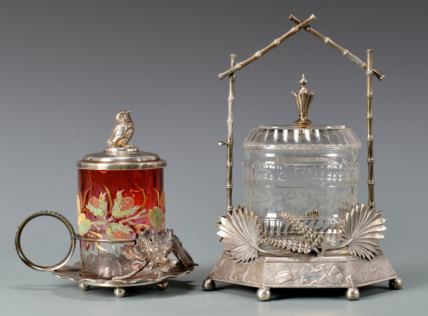 Lot 722: Coralene and other Pickle Casters, 4 total