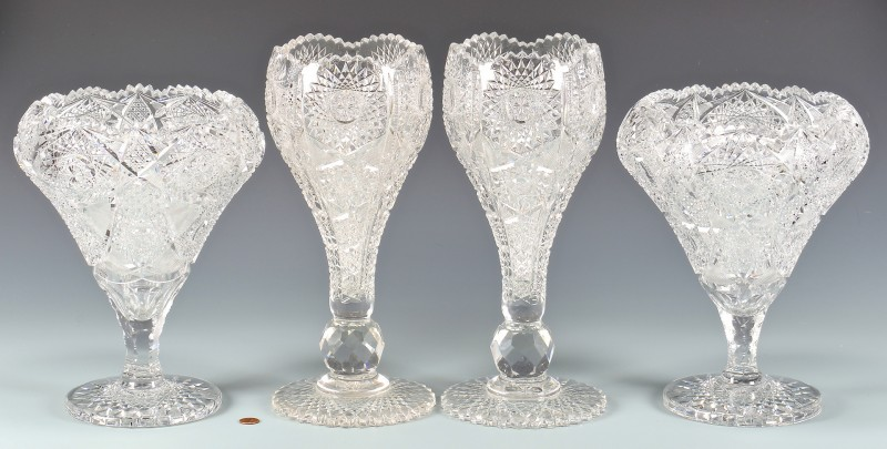 Lot 724: 4 American Brilliant Cut Glass Vases