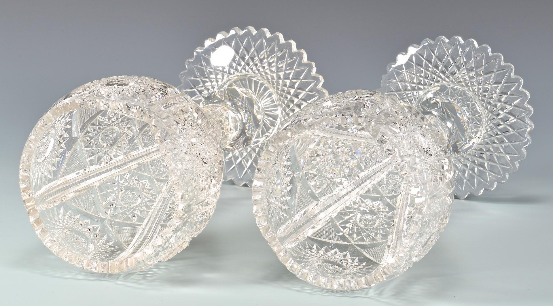 Lot 724: 4 American Brilliant Cut Glass Vases