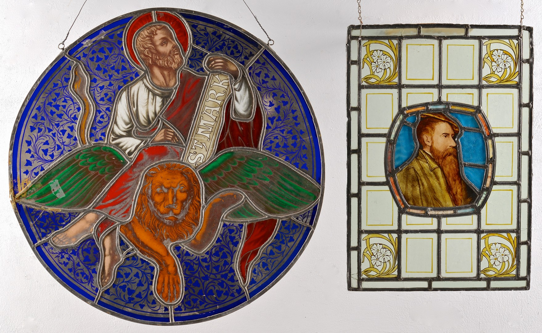 Lot 726: 2 19th century Stained Glass Window Panels
