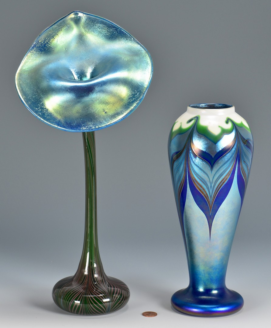 Lot 735: 2 Orient & Flume Art Glass Vases