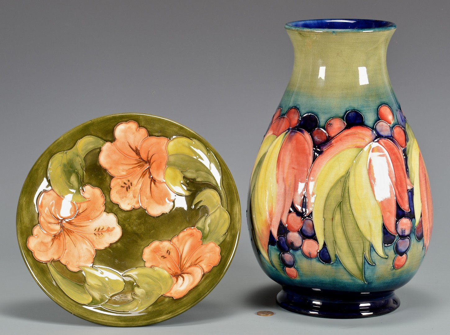 Lot 739: 2 Pcs. Moorcroft Pottery, Vase & Bowl