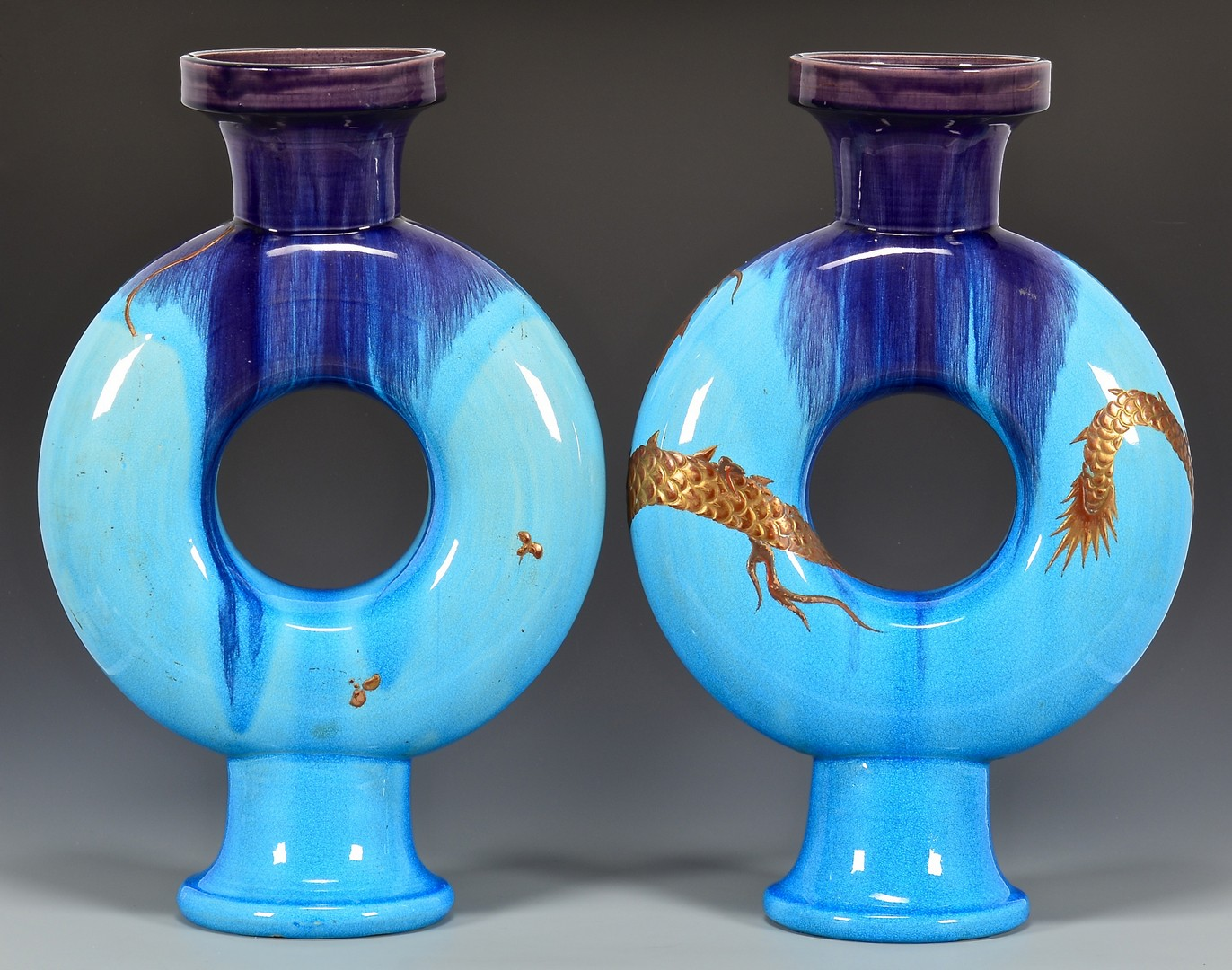 Lot 742: Pr. French Glazed Ceramic Flasks