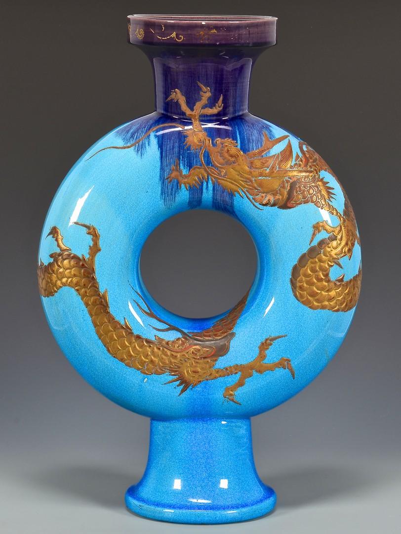 Lot 742: Pr. French Glazed Ceramic Flasks