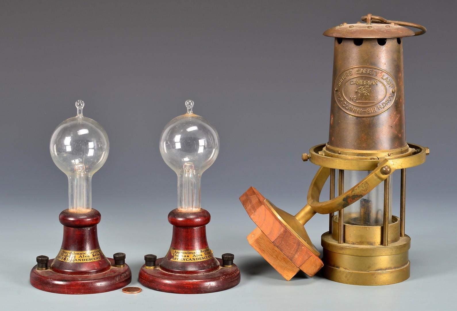 Lot 745: 2 Edison LIght Bulb Lamps, Miner Lamp, Weeden Toy