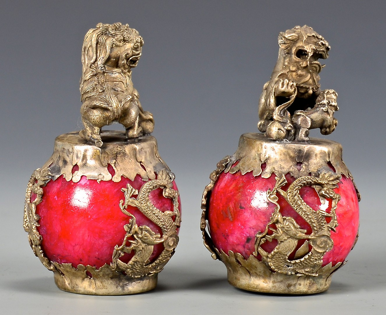 Lot 755: Coral Quan Yin plus Dragon Figures and Pair Chines