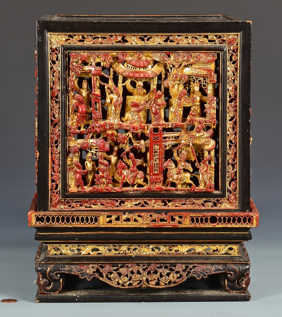 Lot 756: Chinese Lacquer Carved Gilt Altar Box & 2 Carved D