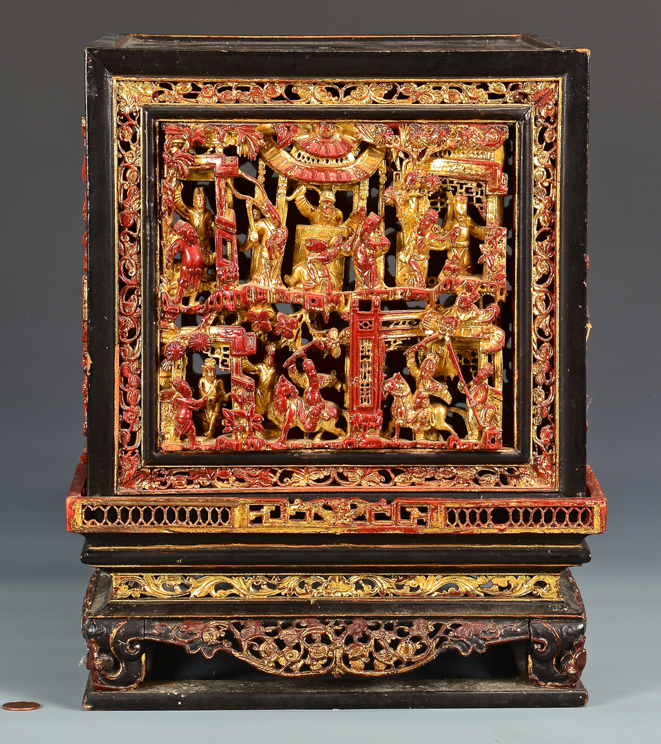 Lot 756 Chinese Lacquer Carved Gilt Altar Box Amp 2 Carved D