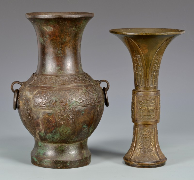 Lot 761: 2 Chinese Bronze Vessels