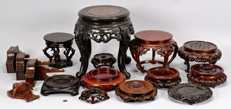 Lot 762: Group of 16 Assorted Asian & European Hardwood Sta