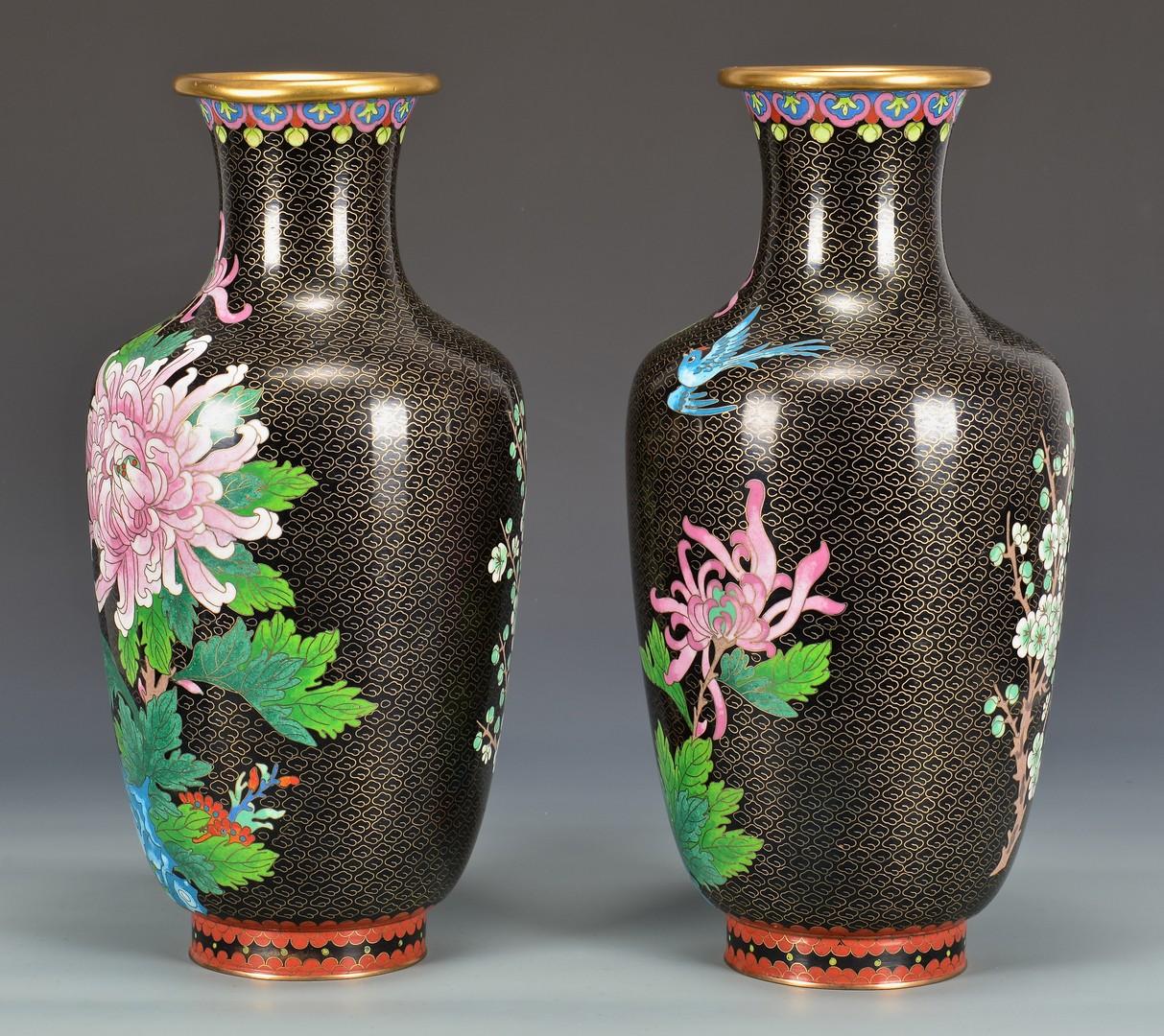 Lot 765: Group of Cloisonne, Pr. Vases & Planter, 3 items