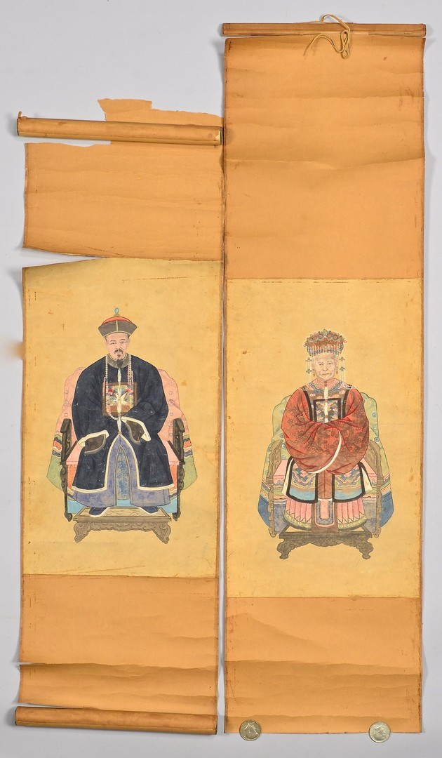 Lot 770: 3 Chinese Ancestral Scrolls, incl. Qing Dynasty