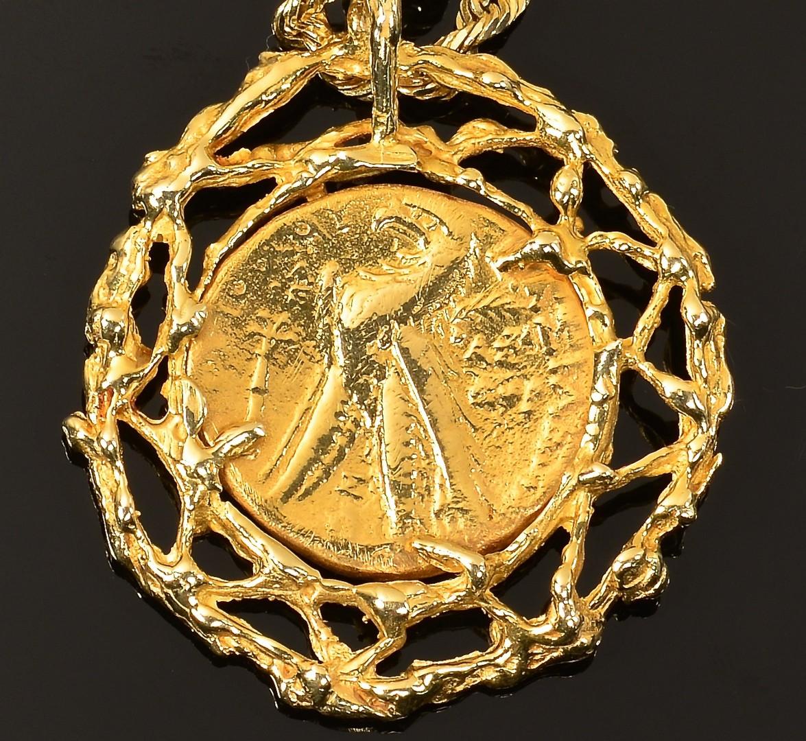Lot 78: 14K Roman-style Coin Pendant Necklace