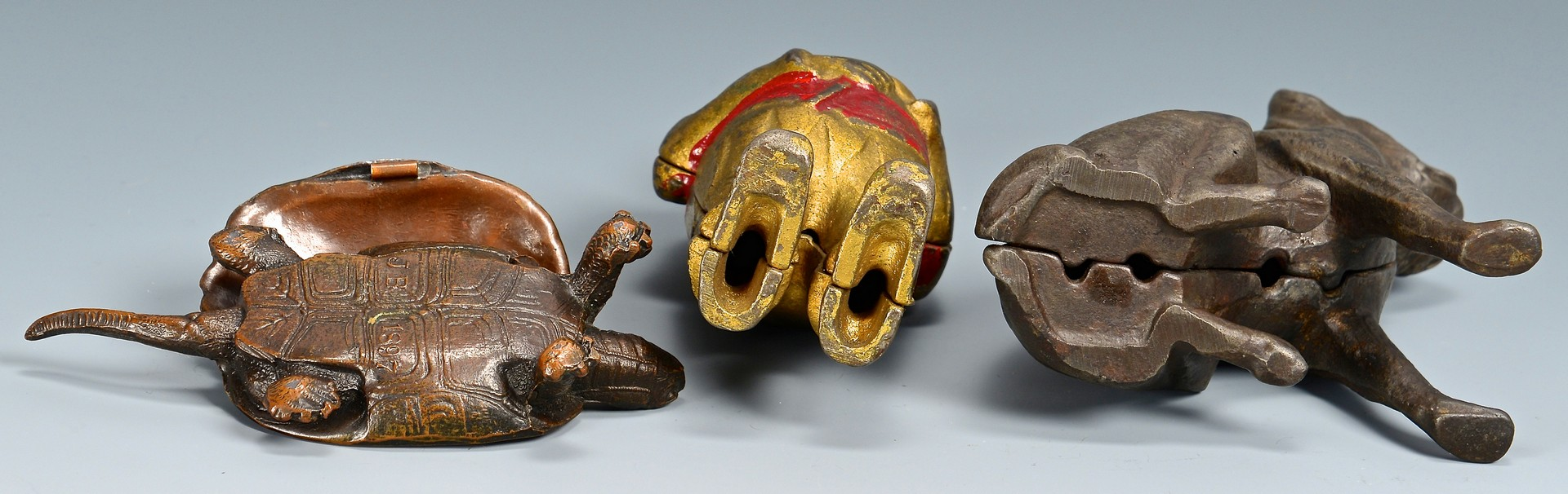 Lot 798: 5 Figural Cast Iron Banks & Bronze Turtle Match Sa