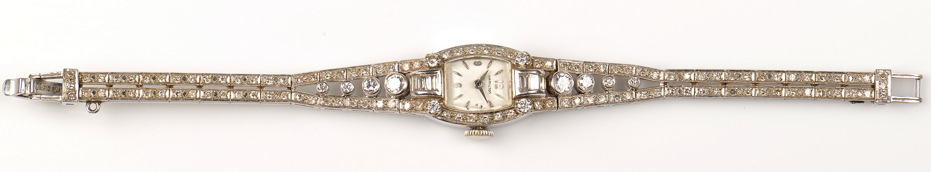 Lot 79: Platinum Hamilton Lady's Diamond Watch