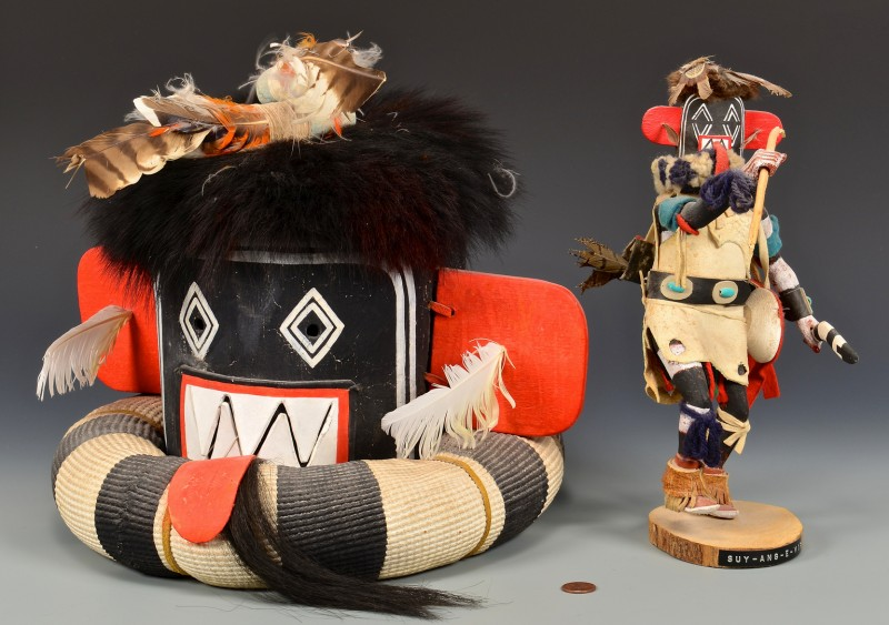 Lot 808: Hopi Left Hand Hunter Kachina Mask & Doll