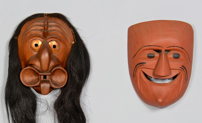 Lot 809: 2 Native American Carved False Face Masks