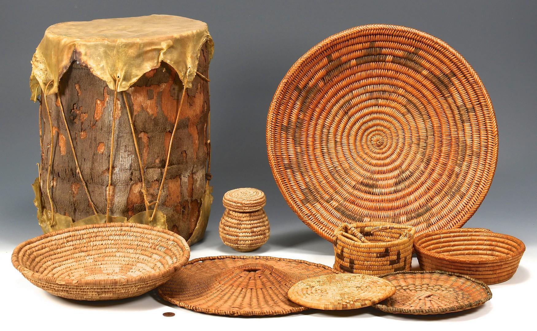 Lot 813: Six Southwest baskets & Skin Drum