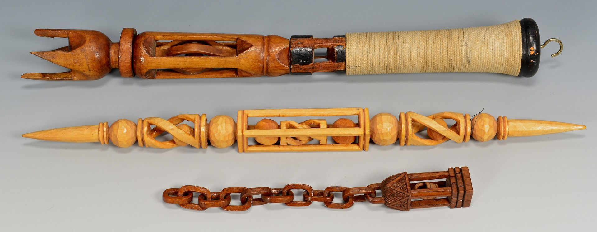 Lot 815: 6 Carved Folk Art Items, Canes & Chains