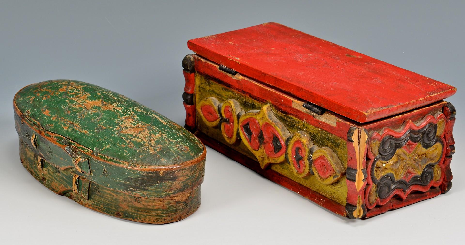 Lot 817: 3 Painted & Carved Scandinavian Folk Art Items