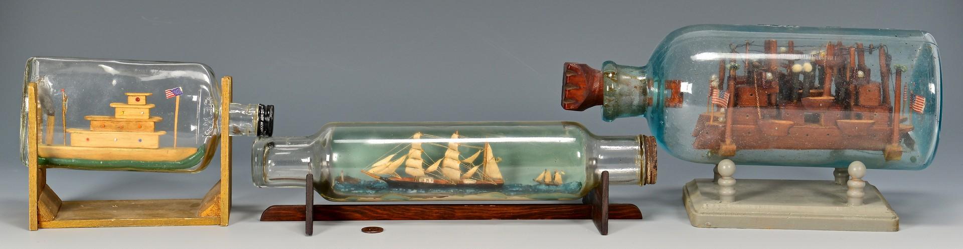 Lot 820: 3 Folk Art Ships in Bottles