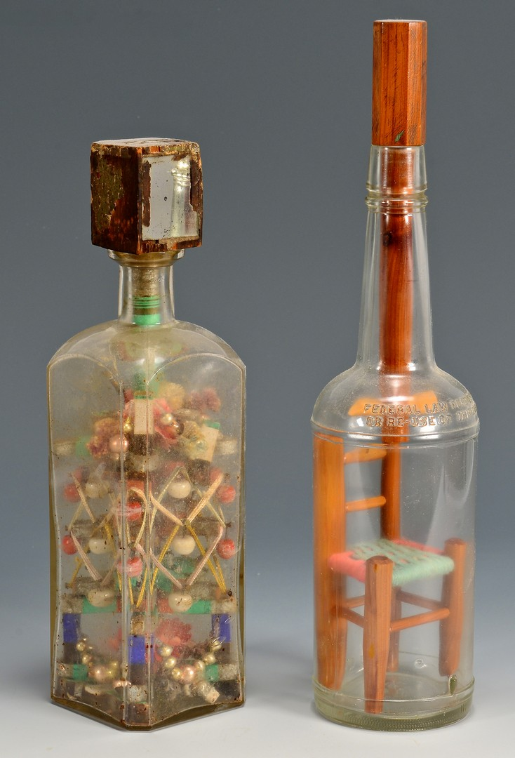 Lot 821: 7 Folk Art Carved Bottle Whimseys