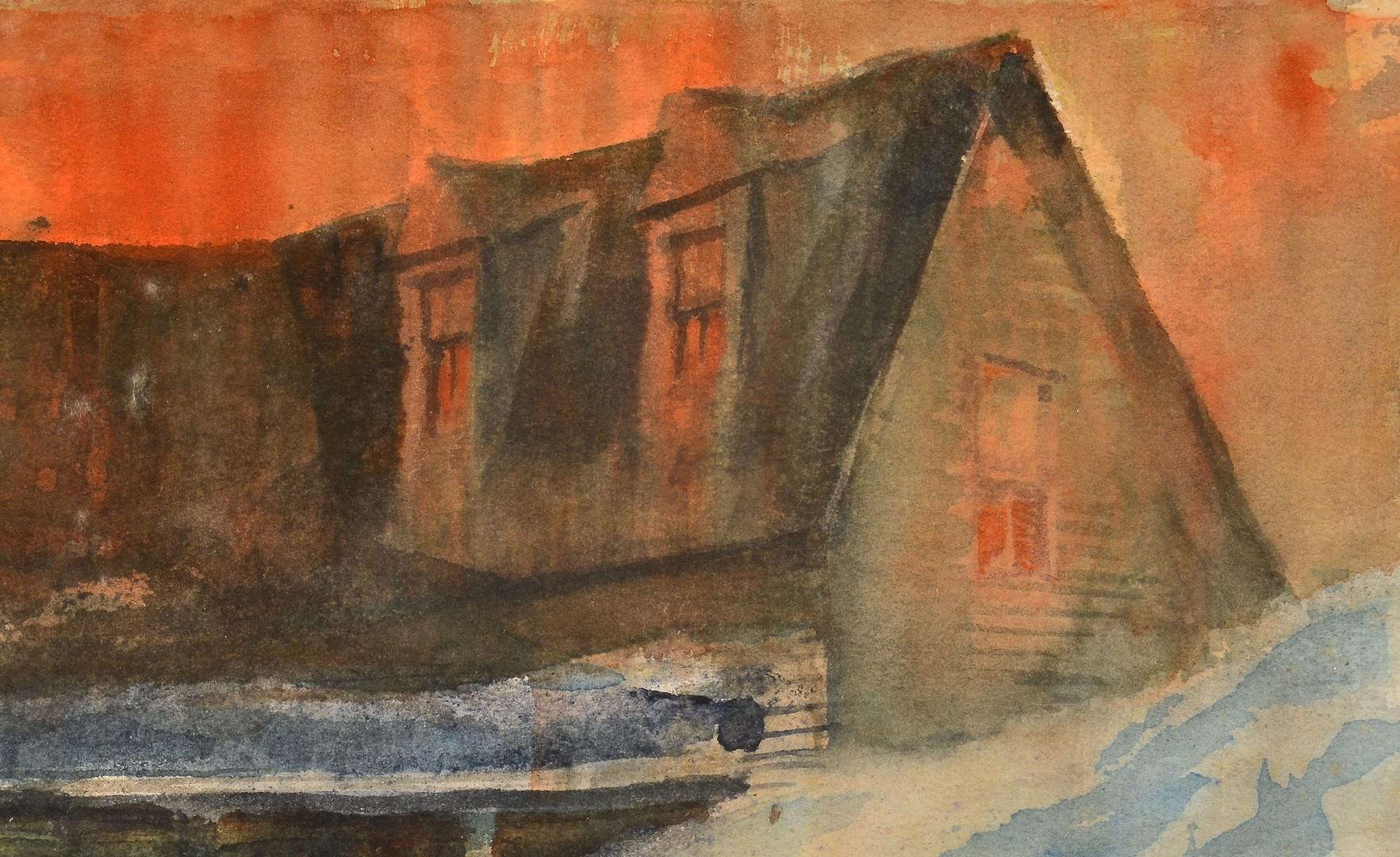 Lot 823: Carl Sublett Watercolor, Snow Drift