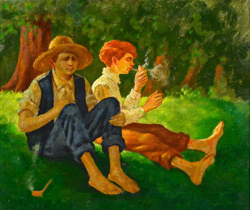 Lot 827: American Genre painting, boys smoking