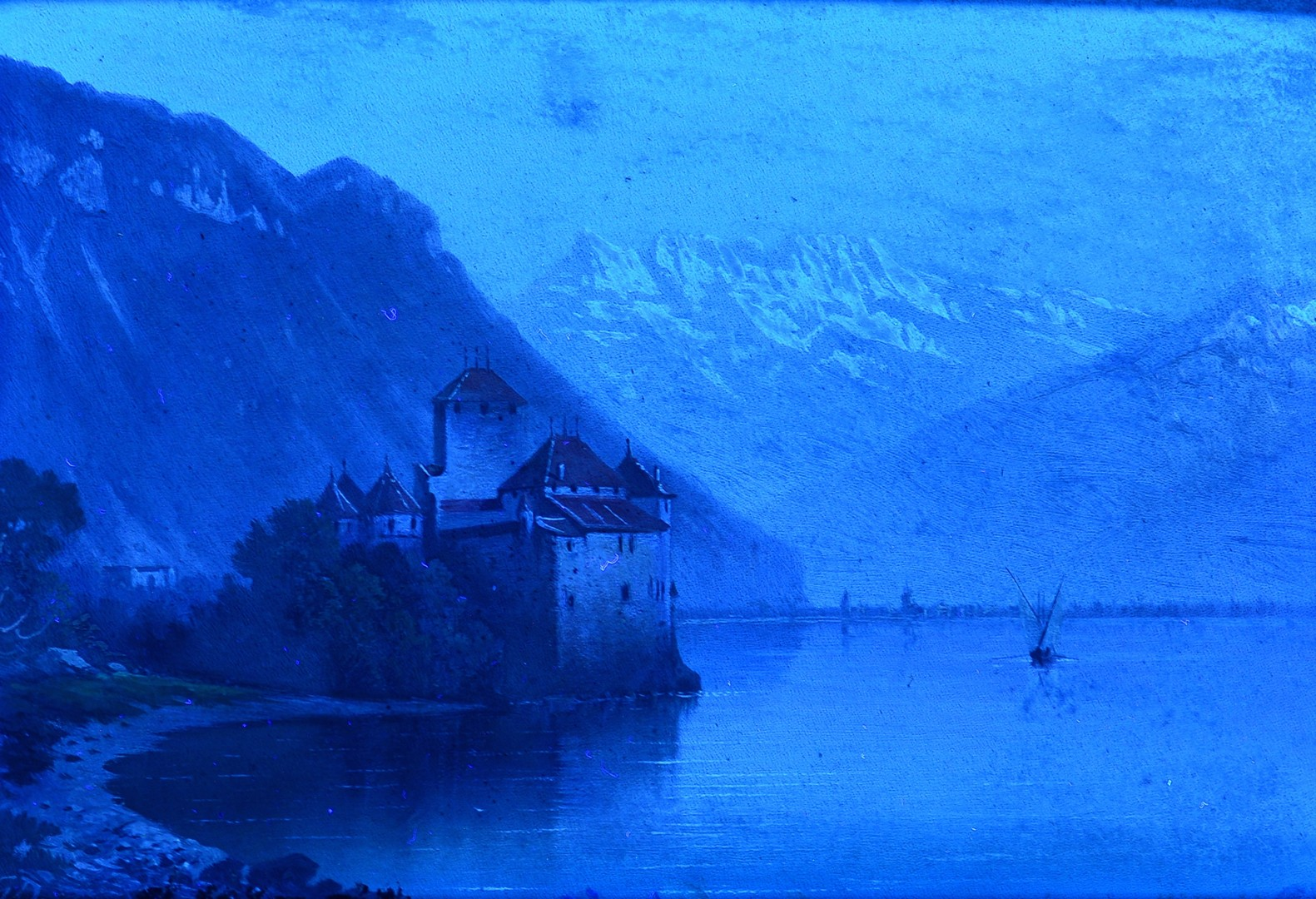 Lot 828: Two European Oil Painting Lake Scenes