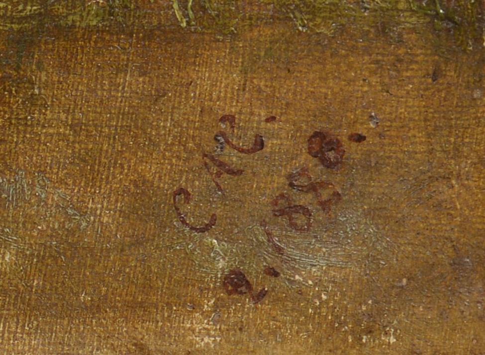 Lot 829: 3 Framed Hunting Engravings & 1 Hunting Oil