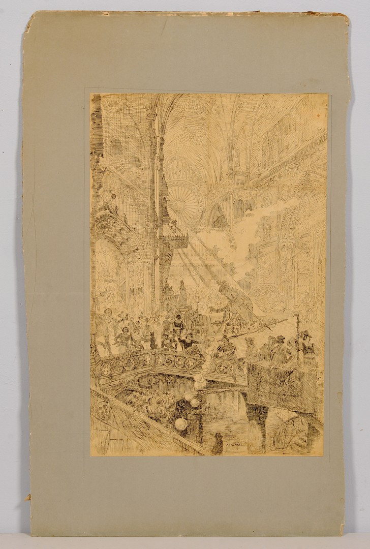Lot 830: 2 European Genre Artworks, 19th c.