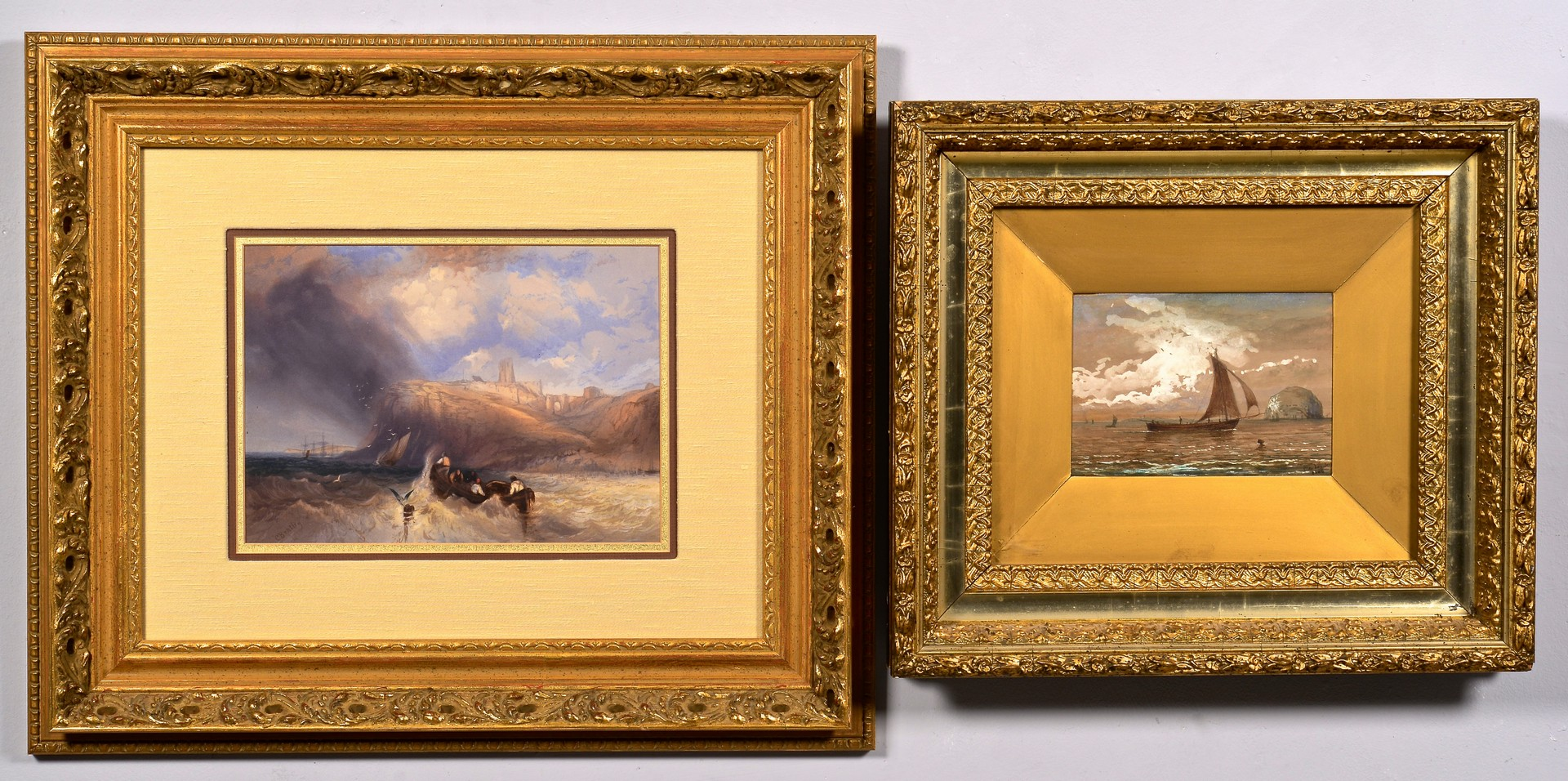 Lot 833: Charles Bentley W/C Seascape plus other