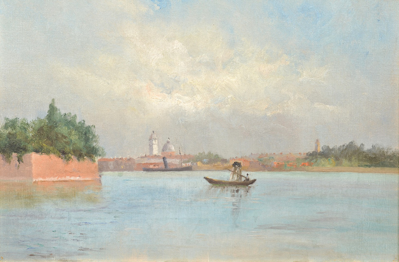 Lot 834: 2 Venetian Scene Artworks, early 20th c.