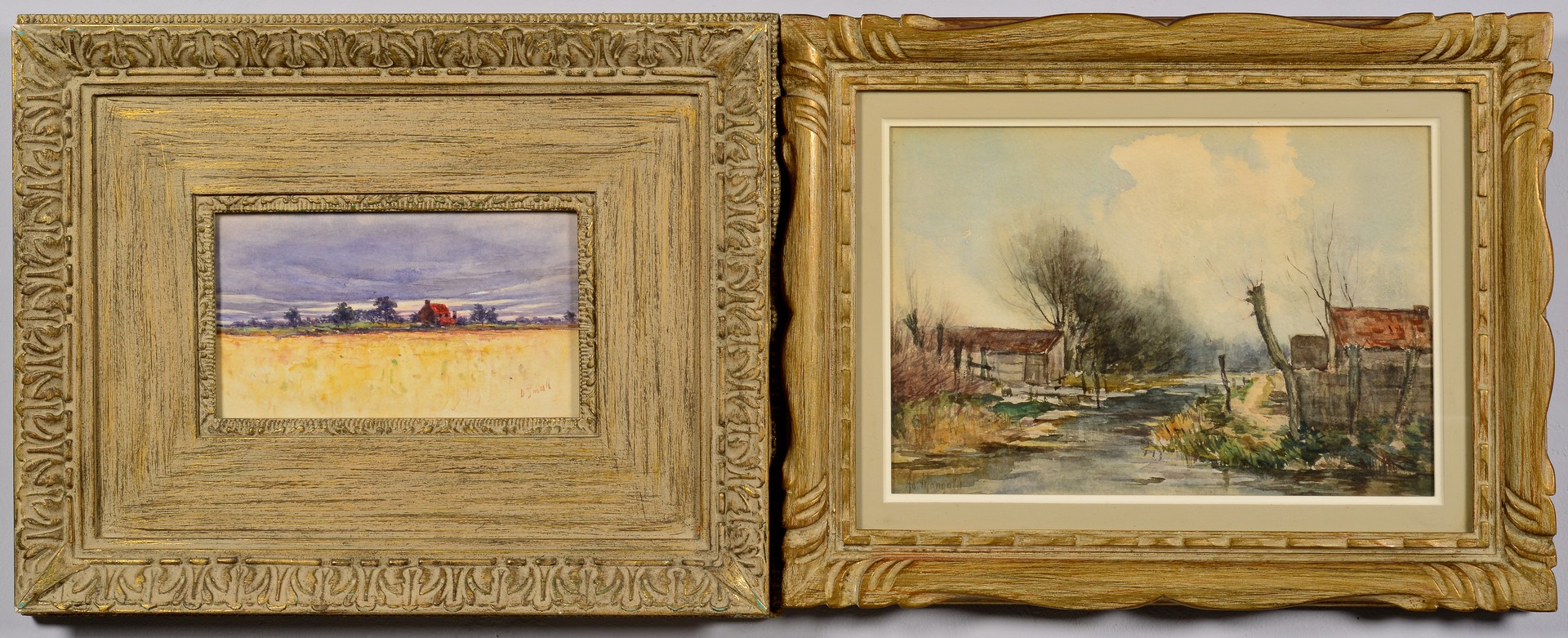 Lot 836: 2 Signed Watercolors, Rural Landscapes, late 19th
