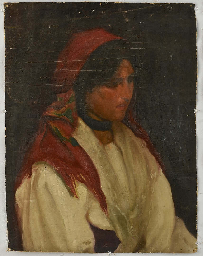 Lot 839: 2 Continental Portraits and 1 oil on board